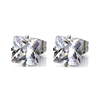 Stainless Steel Prong Set Clear Square Cubic Zircon Stud Earrings Body Jewelry