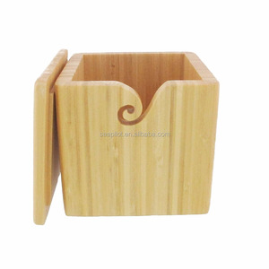 Wooden Yarn Box with Removable Lid Yarn Holder for Knitting and Crochet Natural Box