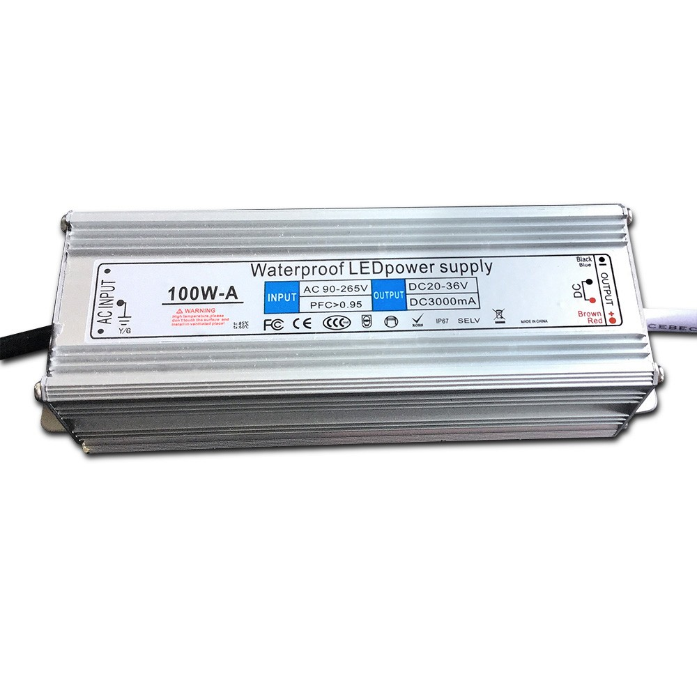100W Power <strong>supply</strong> , IP67 Waterproof led driver , high Efficiency for 100w led chip , DC20-36V 3000MA