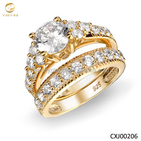 Fashion Natural Cz Stone Ring 18k Yellow Gold Plated Engagement