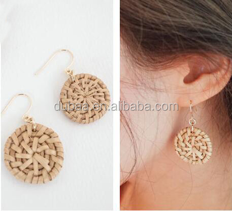 Handmade Straw Rattan Braided Earrings New Fashion Jewelry Natural Caned Drop Earrings Unique Stylish Eardrop