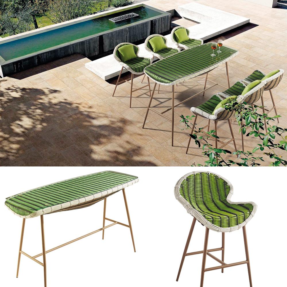 Handmade wicker material woven sofa outdoor set used patio ...