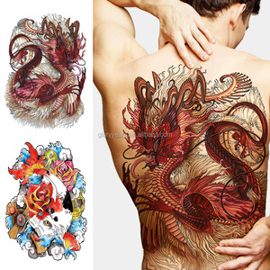 Custom Big Large Full Back Women Mens Body Water Based Temporary Tattoo Sticker Pictures