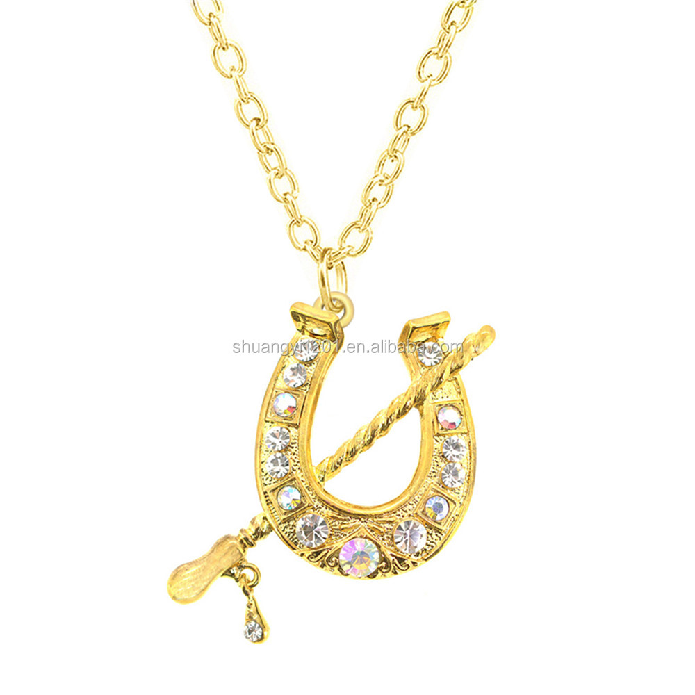 Gold Plated Metal Chain Crystal Luck Horse Shoe Charm Necklace Jewelry