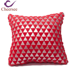 Cheersee red foil silver triangle velvet fluffy pillow cover with soft fabric floor decorative