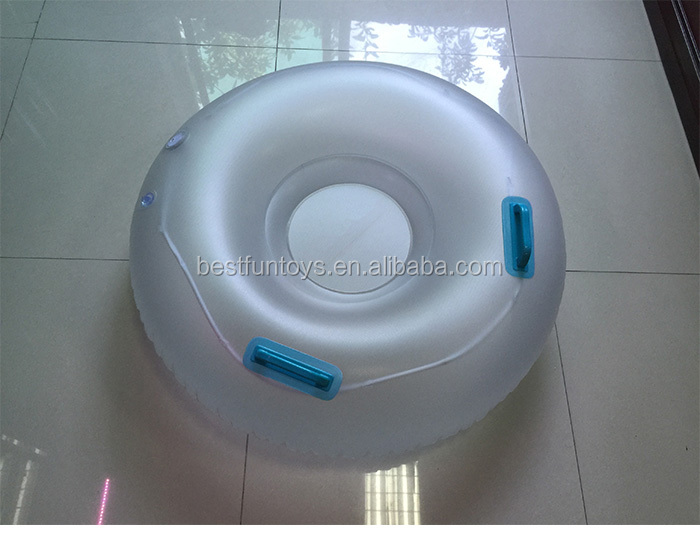 High Quality Plastic Winter Inflatable snow tube PVC sleds Inflatable rounded ski sled for adults