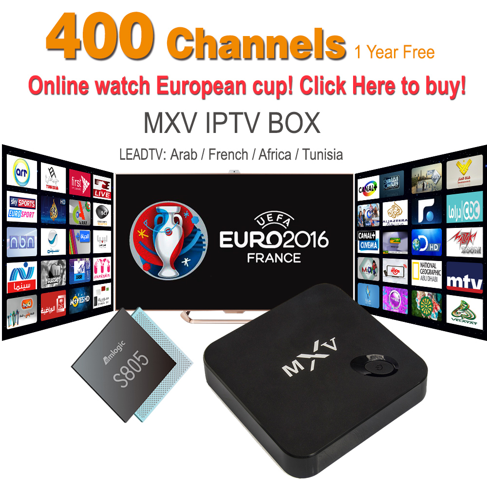 2016 Hot Sell French Arabic IPTV Apk 1 Year Free MXV TV Box Android