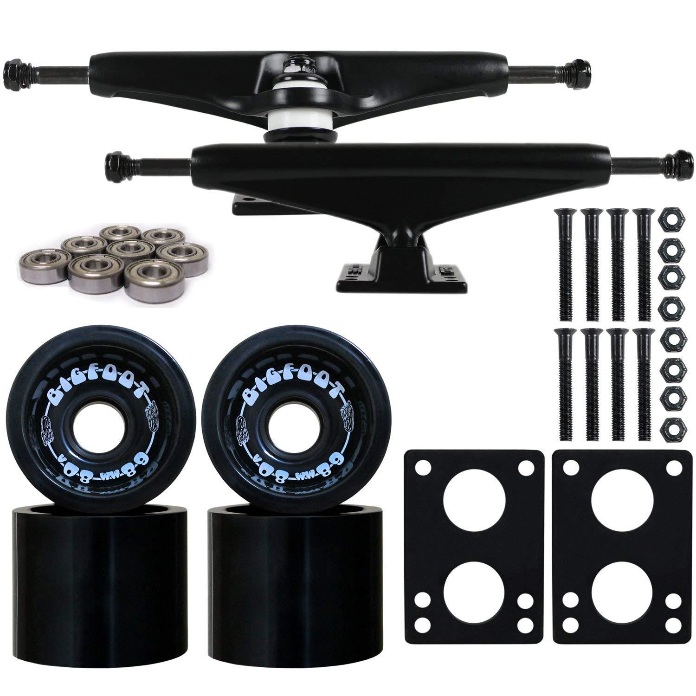 """Longboard Skateboard Trucks Combo Set 68mm Bigfoot Boardwalk Wheels with Black Trucks, Bearings, and Hardware Package (68mm Black Wheels, 6.0 (8.63"""") Black Trucks)"""