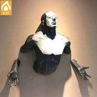 Custom 3D Lifelike Resin Power Man Wall Sculptures For Sale