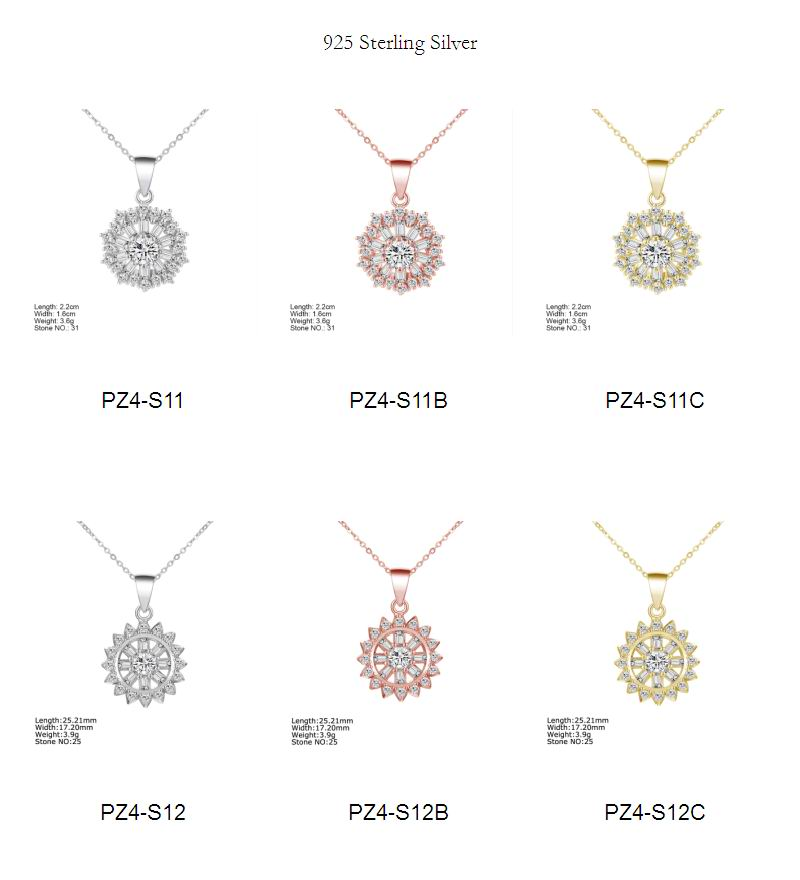 PZ4-S08B pure silver pendants rose gold plated fine women silver jewelry for engagement