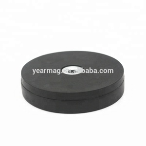 Soft Silicone Fully Coated 36mm dia Neodymium Pot Rubber Covering Magnet with Female Threaded Hole