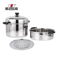 Wholesale stainless steel 2-layer double bottom chinese steamer pot cooking pot with visible cover and steamer cage 26cm