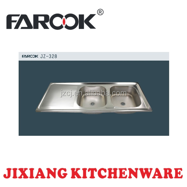 High quality cheap double bowl single drainer stainless steel kitchen sink