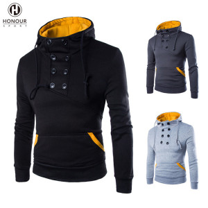 Wholesale New Fashion Design Men's Custom Long-sleeved Slim Short High Neck Casual Sports Pullover Hoodie
