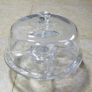 Clear Glass Cake Plate Tray Cake Stand With Glass Cover Lid Dome & Clear Glass Cake Plate Tray Cake Stand With Glass Cover Lid Dome ...