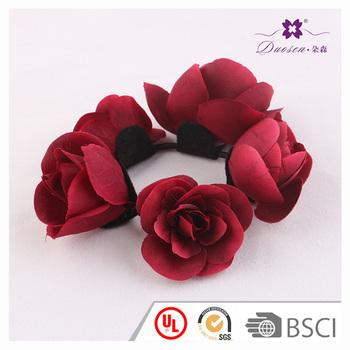 Fancy Design Handmade Satin Red Roses Ponytail Holders - Buy Flower ... f07968036db