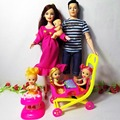 New 6 people Educational Real Pregnant Doll Mom Dad kelly 1 Baby Son Carriage Girls Toys