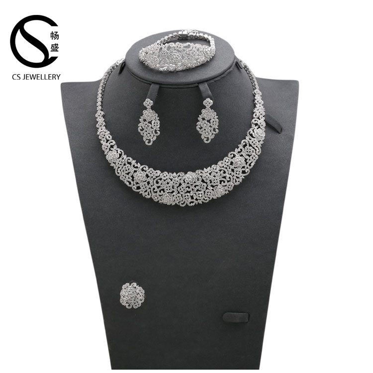 B17029 Factory Sale OEM ODM manufacture AAA cubic zirconia copper immitation jewelry set
