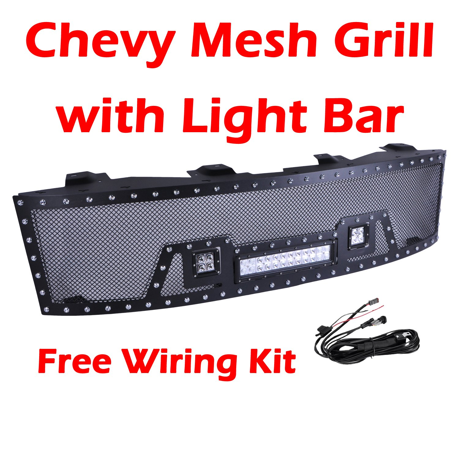 Cheap Silverado Led Light Bar Find Deals On 2007 Chevrolet Wiring Harness Get Quotations Ohmu Chevy Front Mesh Grill Grille For 2013 1500 Pick