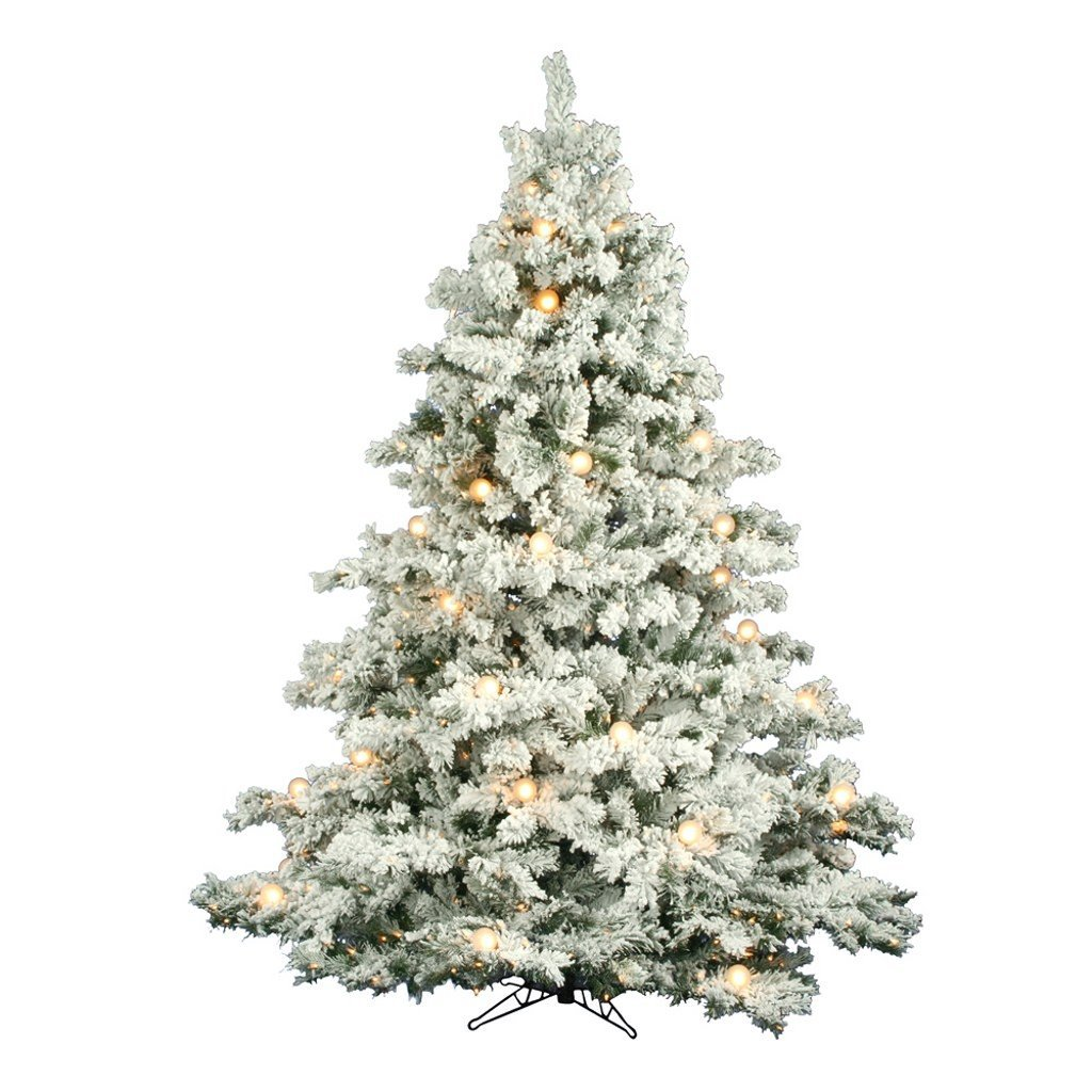 7.5 ft. x 69 in. - Flocked Alaskan - 1495 Classic PVC Tips - 800 Clear G50 Lights - Artificial Christmas Tree - Vickerman A806379