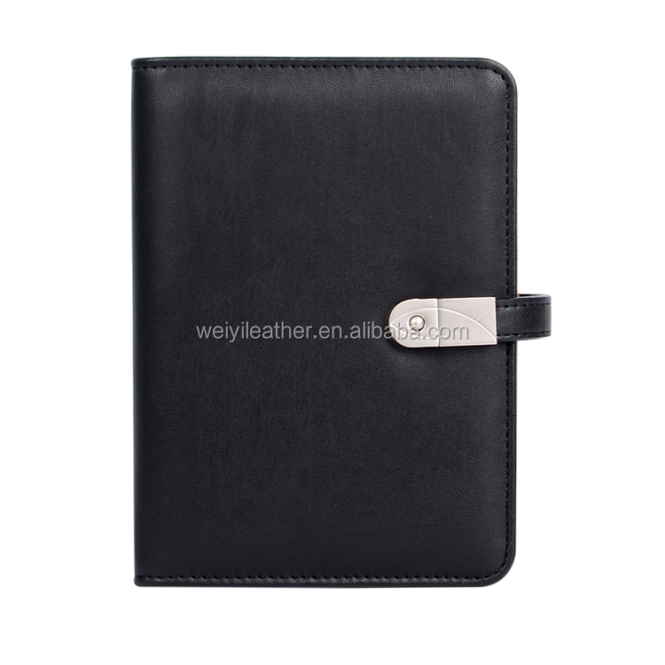 Chinese Supplier Black Reusable Journal Diary A5 Leather 8g USB Notebook Power bank