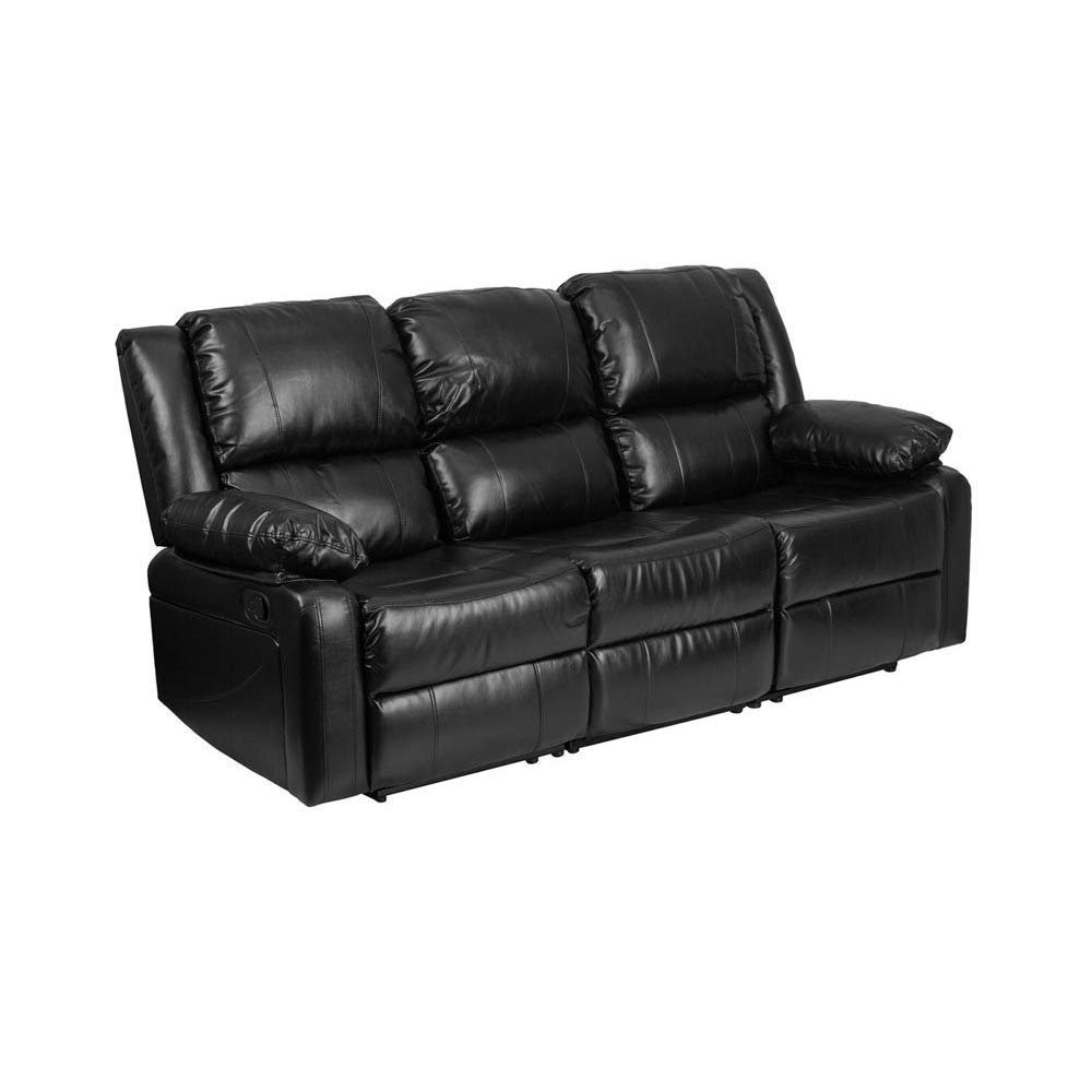 Contemporary Harmony Series Black Leather Sofa with Two Built-in Recliners Sofa Cushions Style Patio Studio Brayden Cushion CHOOSEandBUY