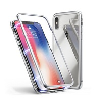 New Design 2019 Aluminium Frame Bumper Magnetic Metal 9H Tempered Glass Phone Case for iPhone Samsung Xiaomi Huawei