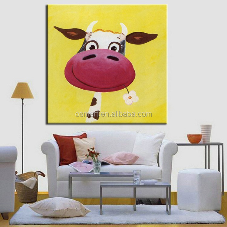 Wall Decoration Stickers Funny Animals Cow Oil Painting On Canvas ...