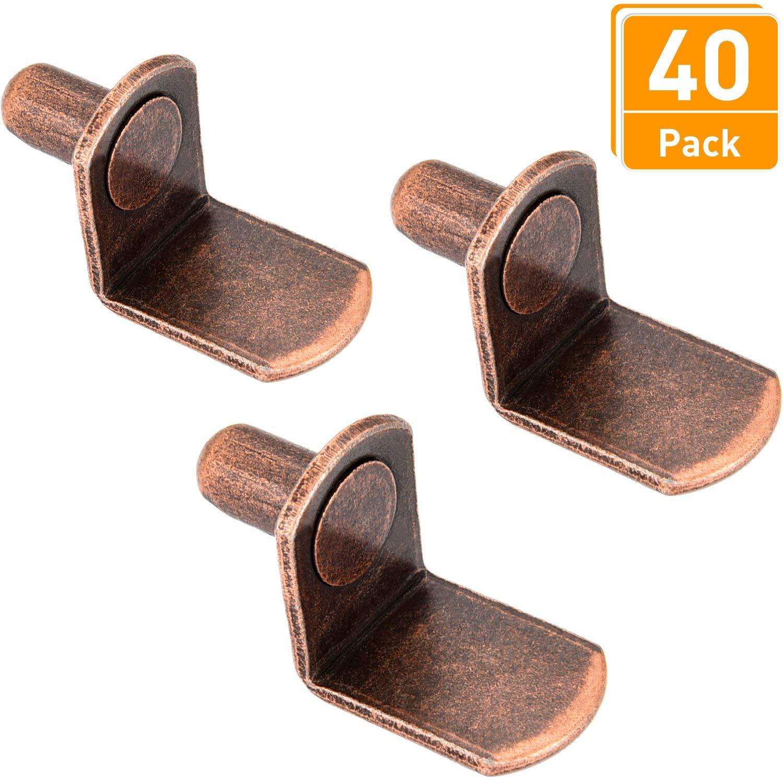 Blulu 40 Pieces L-Shaped Furniture Bracket Pegs Cabinet Bracket Pegs Shelf Pegs, Bronze, 1/4 inches