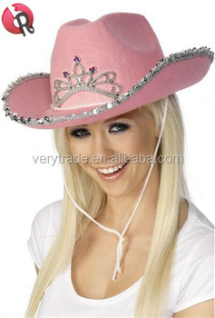 Party Carnival funny cheap pink crown cowgirl felt Hat