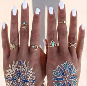 Retro Jewelry Vintage Punk Boho Beach Ring Set For Women Antique Silver Plated Rings