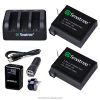 Smatree 1290mAh Replacement Battery (2-Pack) with 3-Channel Charger AHDBT-401 AHDBT401 AHDBT 401 Gopros Heros 4 Battery