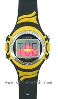Yellow and black mixed colors alarm el backlight watch with light up face