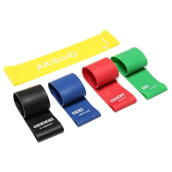 Hot Sale AKibody Mini Fitness Training latex 12x2 inch resistance bands set