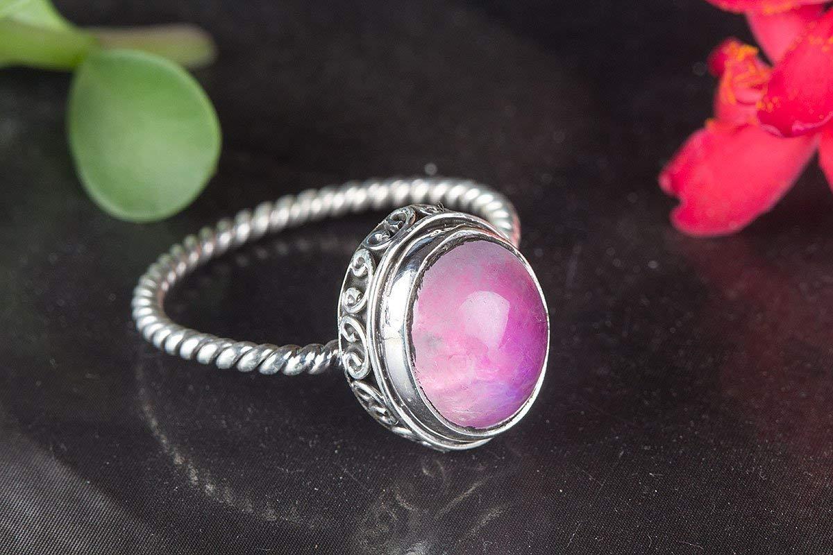 Pink Moonstone Ring, Handmade Ring, Gypsy Ring, Boho Ring, Fine Ring, Pink Moonstone Jewelry, Gemstone Ring, Artisan Ring, Moonstone Ring, Beautiful Ring, Birthstone Ring, Bridal Ring, Statement Ring