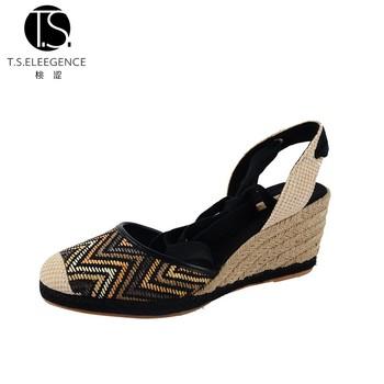 4257d6a5d26 Low Price Women Sandals Raffia Closed toe Lace up Black Low Wedge  Espadrilles