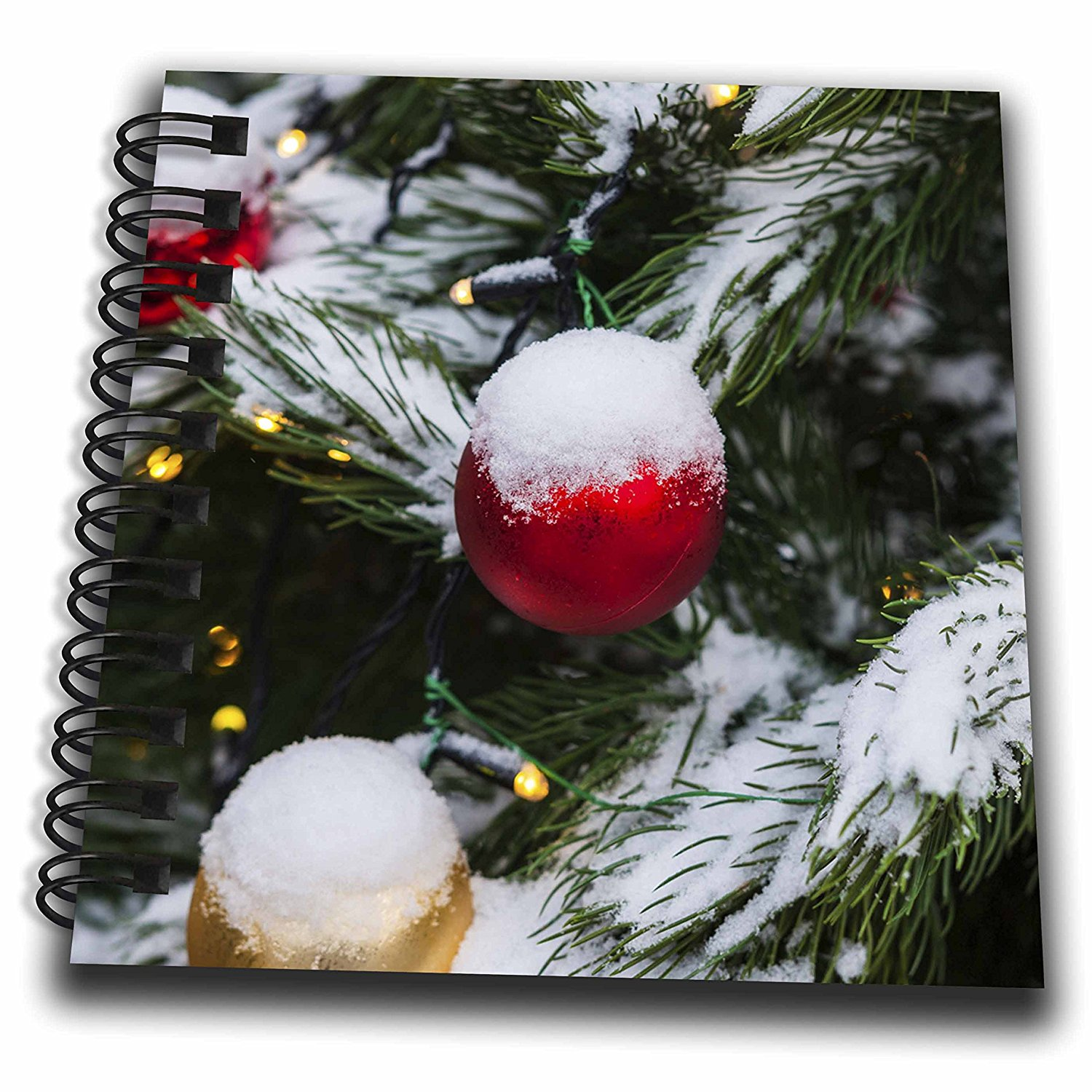 3dRose Alexis Photography - Holidays Christmas - Red Christmas ornament ball on a snow covered tree outdoor, lights - Mini Notepad 4 x 4 inch (db_275968_3)