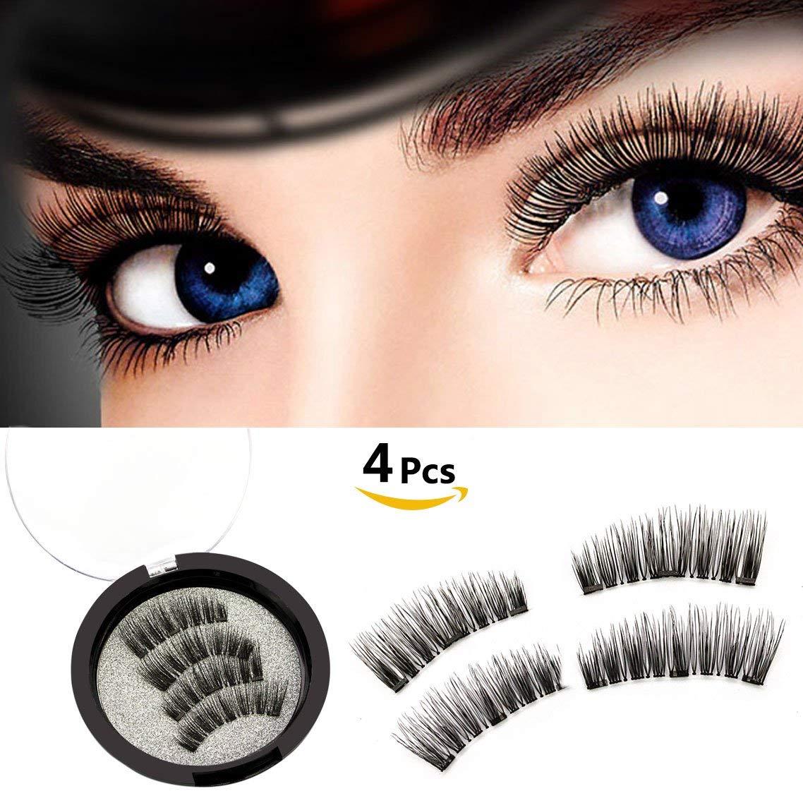 b9d366757d9 Get Quotations · Reusable Magnetic False Eyelashes Ultra Comfortable Fake  Lashes Natural Look Long Fake Eyelashes Set No Glue