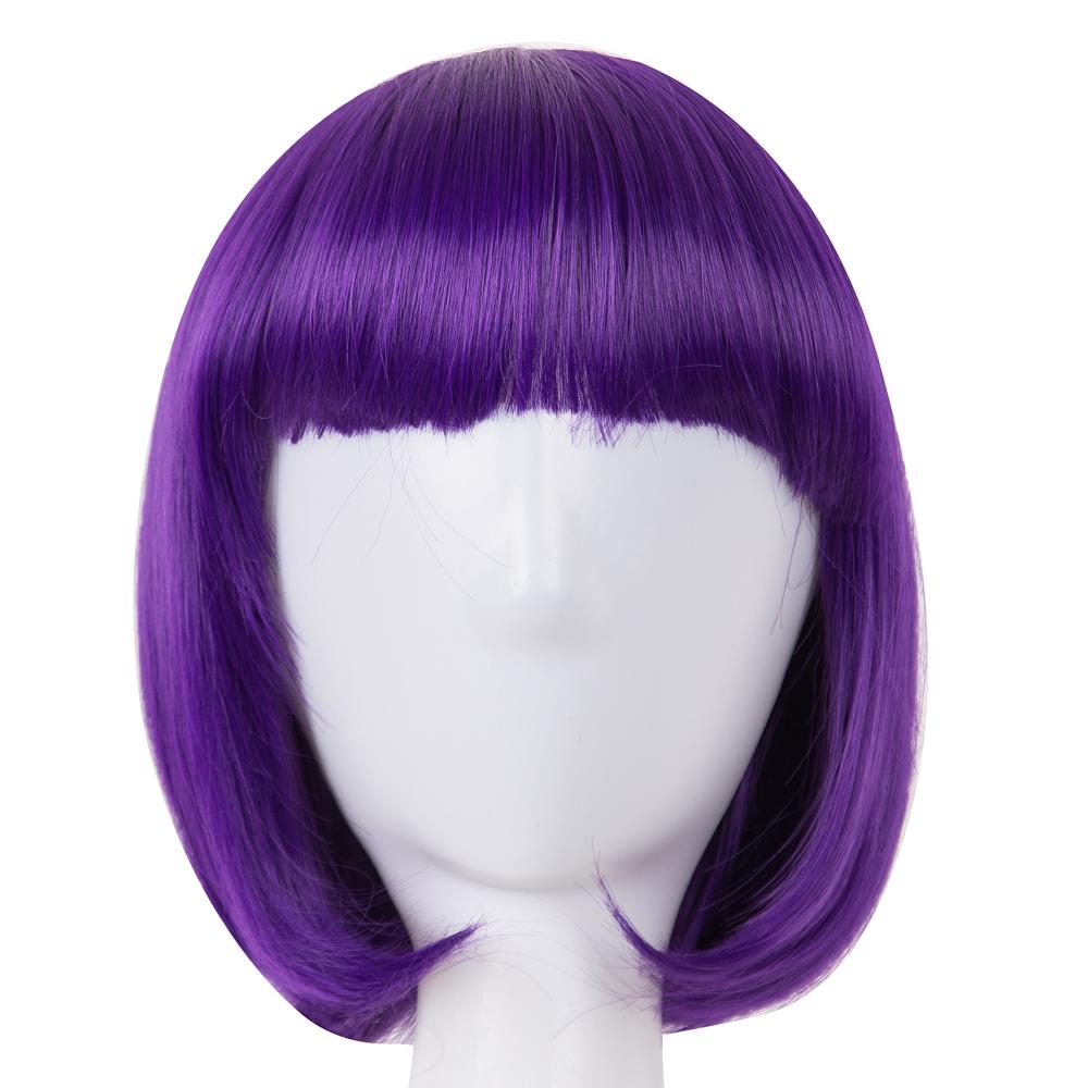 924a5dbda97e Nuevo estilo púrpura Bob 12 pulgadas pelucas sintéticas para Cosplay cortes