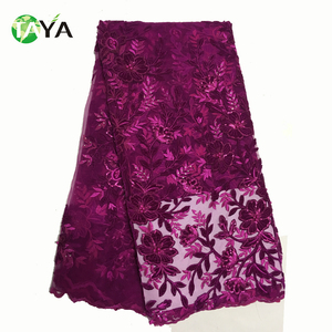 2017 New Arrival Magenta Anniversary Bridesmaid Cheap Embroidery Lace Fabric With Velvet