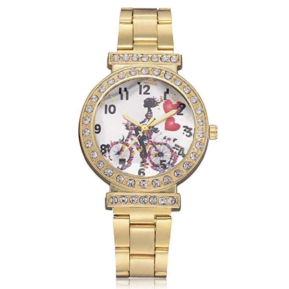 Womens Quartz Watches,Windoson Fashion Ladies Dress Watches Fanmis Luxury Rhinestone Bracelet Quartz Rose Gold Plated Stainless Steel Watch, Elegant Lady Watches Female Watches (Gold)