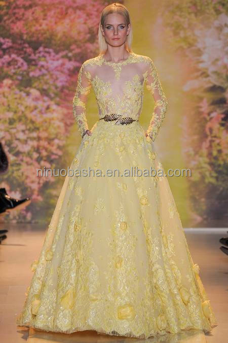 Exquisite 2014 Yellow Ball Gown Wedding Dress Jewel Neck Long Sleeve Sheer Top Flower Lace Bridal