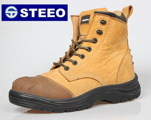 General Leather Insulated Yellow steel toe Rubber Outsole Work Safety Boots