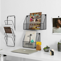 Metal Wire Magazine Letter Rack Wall Unit Vintage Industrial Basket Style