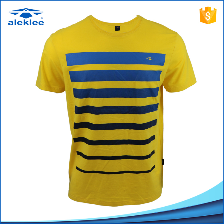 OEM service 95% Cotton 5% Elastane Fitted Short Sleeve Sport Cloth Round Neck printing men's custom striped t shi