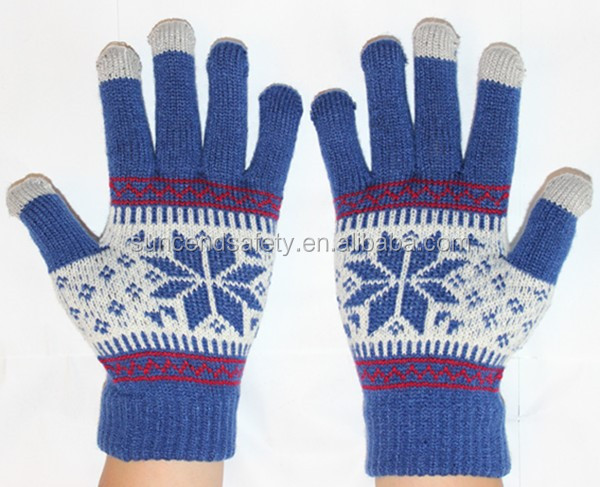 2014 China wholesale custom Christmas gift acrylic glove,fingers touch screen winter gloves