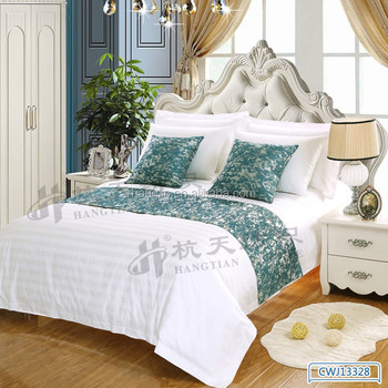 Hotel Use Full Size Bed Runners Sofa Decorative Cushion Cover Linen Bedding Decoration