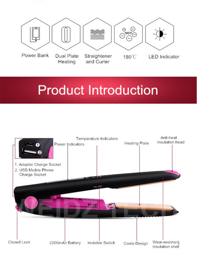 2017 New Power Bank Function cordless hair straightener rechargeable usb charge led indicators