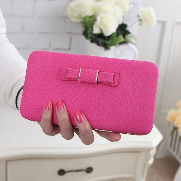 Original Ladybeibei women Bowknot Clutch large capacity PU leather ladies wallet