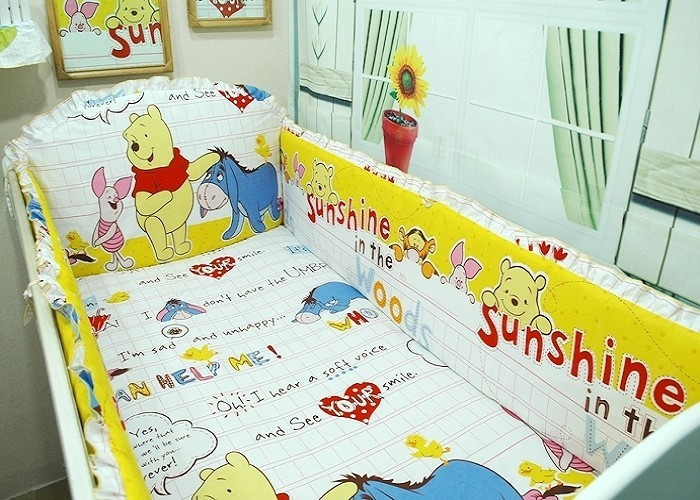 Easy To Lubricate Fashion Style Promotion bumper+duvet+bed Cover+bed Skirt 7pcs Embroidery Baby Bedding Crib Set 100% Cotton Crib Bumper Baby Cot Sets